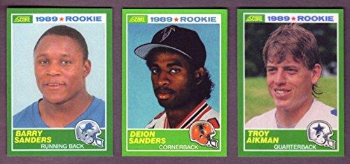 2008 Score Football (Troy Aikman, Barry Sanders, and Deion Sanders 1989 Score Football Reprint Rookie (3) Card Lot w/ Original Backs (Cowboys) (Lions) (Falcons))