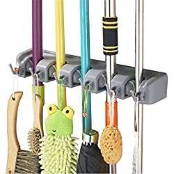 YHY Broom Holder and Garden Tool Organizer for Rake or Mop Up To 11 Tools, 5 position with 6 hooks Remove Clutter From Bathroom and Laundry Room, Closet and Garage Organization System (Grey)