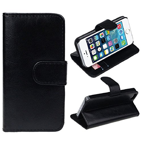 Changeshopping(TM)Retro Leather Wallet Flip Cover Case For Apple iPhone 5 5G 5S(Black)