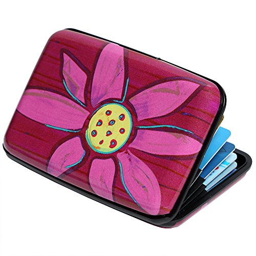 Credit Card Holder Aluminum Wallet RFID Blocking Slim Metal Hard Case (Lotus Flower Painting)