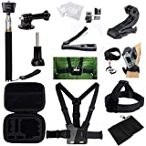 GBB Basic 12 in 1 Action Camera Accessories Kit with Carrying Case / Chest / head / Wrist strap for Gopro Hero 4 3 3+ 2 1 Xiaomi Yi SJ4000 SJCAM....