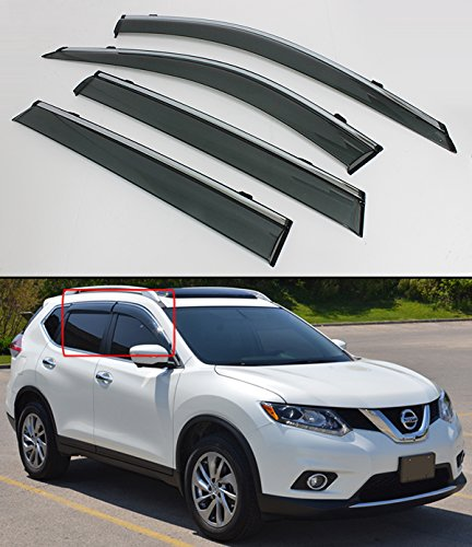 Cuztom Tuning Clip-ON Type Smoke Window Visor RAIN Guard W/Chrome Trim for 2014-2018 Nissan Rogue S SV (NOT FIT Rogue Sport)