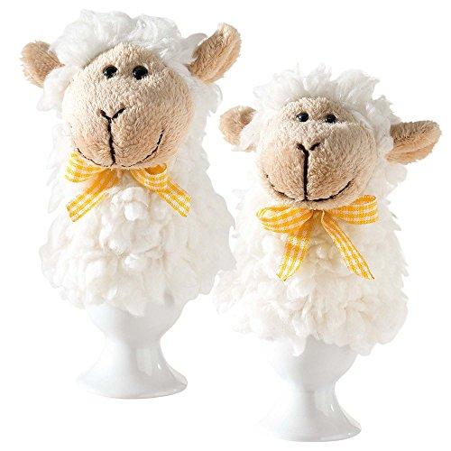 2 x Eierwärmer Schäfchen flauschig weich Schafe Ostern Deko Tischdeko