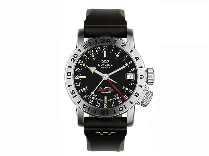 Reloj Automático Glycine Airman 17, GMT, Negro, GL 293, 46mm, 20atm, 3917.19-D9: Amazon.es: Relojes