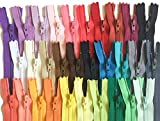 #8: 10 Inch Assorted Colors YKK Zippers Number 3 Nylon Coil Set of 30 Pieces