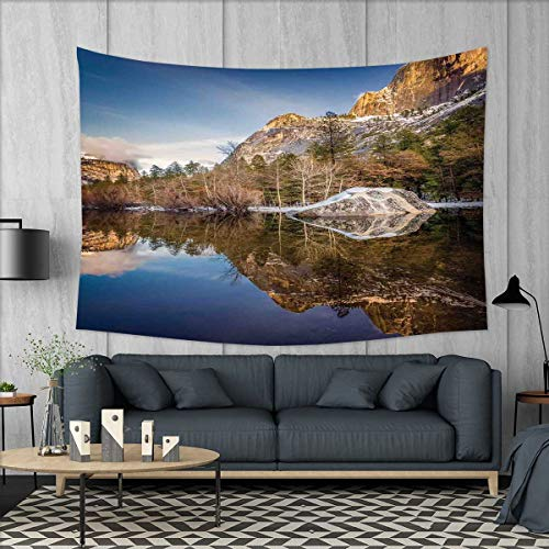 smallbeefly Yosemite Wall Hanging Tapestries Yosemite Mirror Lake and Mountain Reflection on Water Sunset Evening View Picture Large tablecloths 84''x54'' Navy Brown by smallbeefly