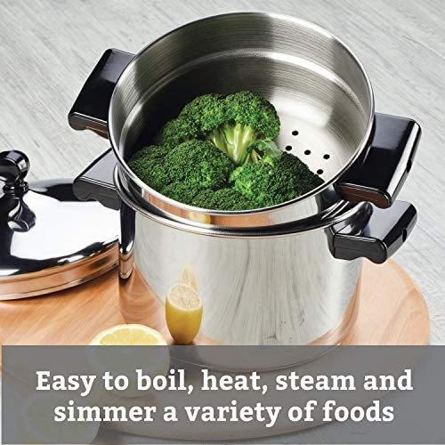51gTjXKUwsL. AC Farberware Classic Series Sauce Pot/Saucepot with Steamer Insert, 3 Quart, Silver    Sauce it, boil it, steam it, and simmer it with the versatile Farberware Classic Stack 'N' Steam Stainless Steel Saucepot and Steamer. From lobster pot to soup pot, this multipurpose cookware combo can be used with or without the steamer insert, and boasts a full cap base featuring a thick aluminum core surrounded by stainless steel for rapid, even heating on any stovetop, including induction. Heavy-duty stainless steel is polished to a mirror finish for a classic touch and the stacking steamer pot is dishwasher safe and oven safe to 350°F.