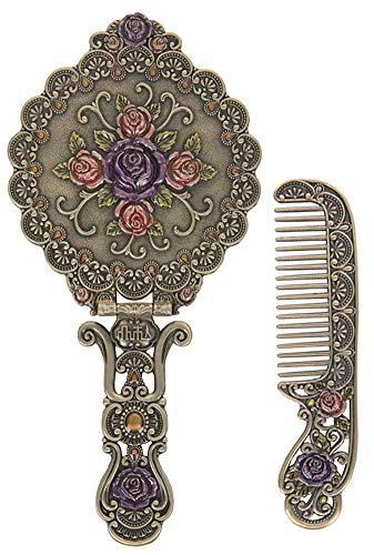 Nerien Vintage Round Rose Metal Mirror Comb Set Antique Hand Held Vanity Mirror Comb Set Bronze