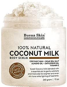 Coconut Milk Body Scrub with 6 Essential Oils | Natural Deep Cleansing Exfoliator | Promoting Radiant Skin 12 oz By Buena Skin (Coconut Milk)