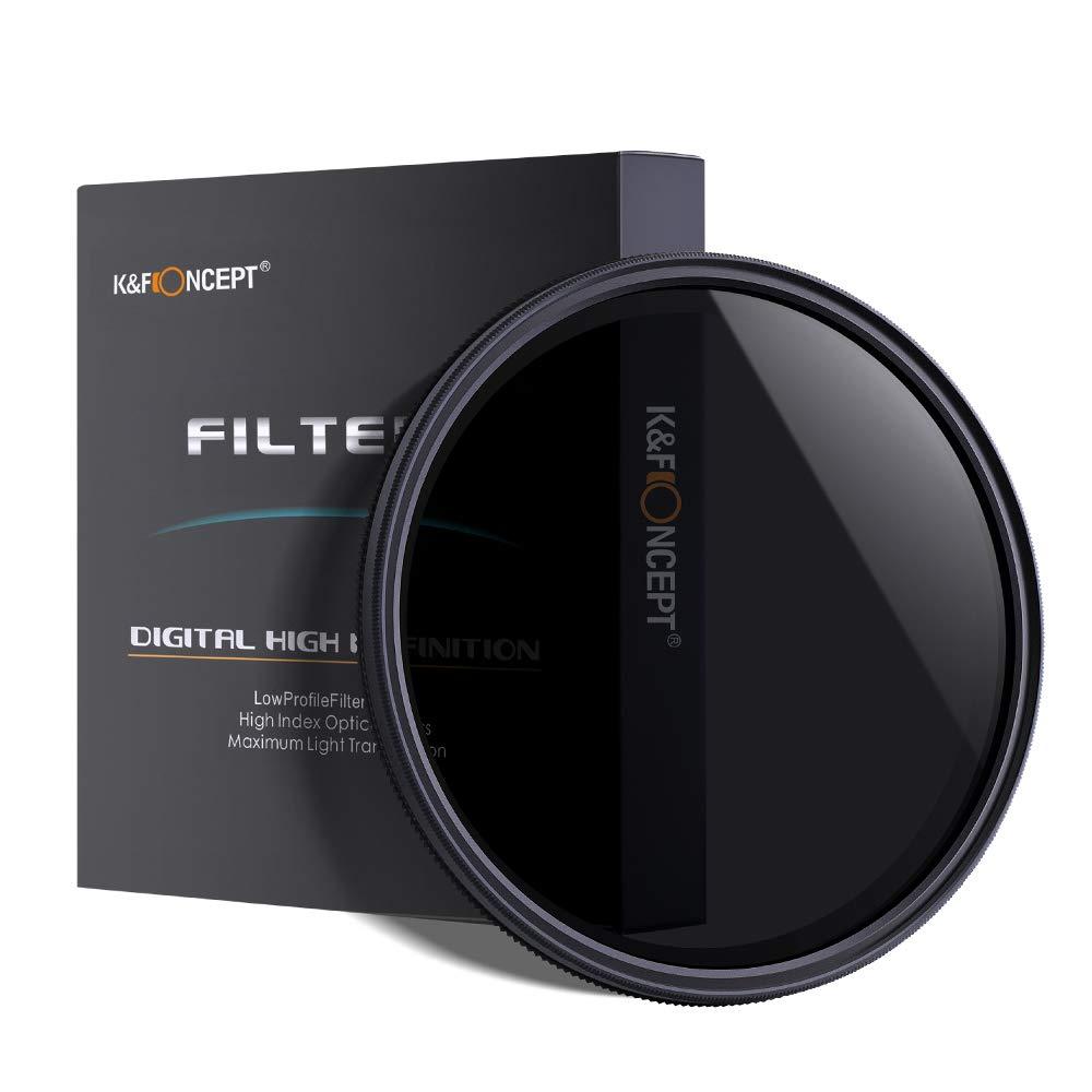 77mm ND Filter,K&F Concept 77mm Ultra Slim ND2-ND400 Fader Variable Neutral Density Adjustable Lens Filter Ultra Slim ND Filter Optical Glass by K&F Concept
