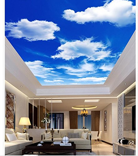 Delightful Wapel Blue And White Living Room Bedroom Ceiling Zenith Home Decoration 3D  Wallpaper Mural Ceiling Silk