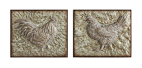Creative Co-Op Embossed Metal Wall Décor of Rooster & Hen (Set of 2 Designs)