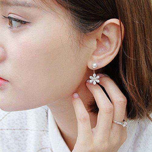 usongs Shin Mina same section small daisy earrings 925 sterling silver micro diamond flower earrings pearl earrings hanging woman