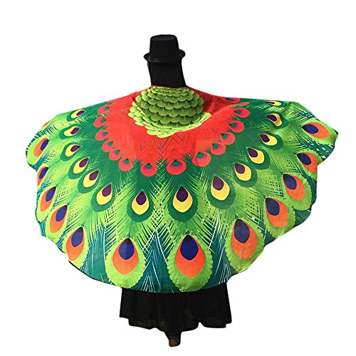 vermers Women Butterfly Peacock Costume Fashion Soft Fabric Wings Shawl Fairy Ladies Nymph Pixie Accessory Shawl(Red) -