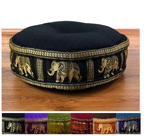 Zafukissen Seide mit Kapokfüllung, Meditationskissen bzw. Yogakissen, rundes Sitzkissen / Bodenkissen (schwarz / Elefanten)