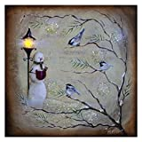 Caroling Snowman and Finches LED Light-up 10 x 10 inch Christmas Stretched Canvas Wall Art For Sale