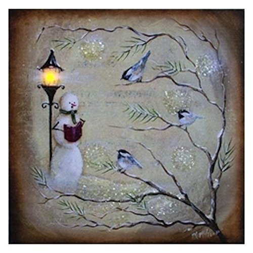 Caroling Snowman and Finches LED Light-up 10 x 10 inch Christmas Stretched Canvas Wall Art