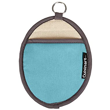 Cuisinart Oval Pot Holder/Oven Mitt w/ Pocket & Heat Resistant Non-Slip Silicone Grip, Aqua