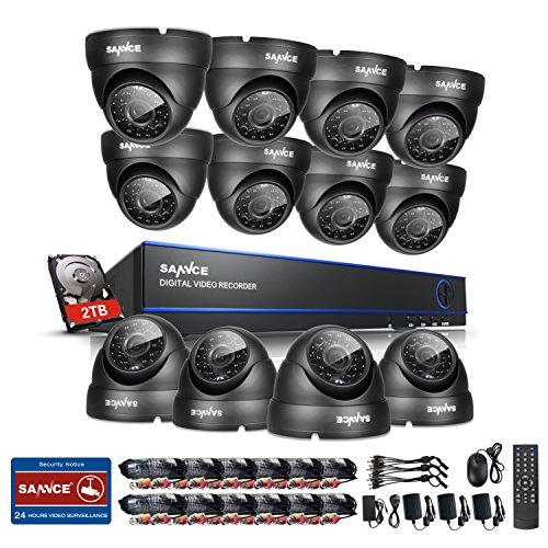 SANNCE 2TB HDD 16-Channel 1080N DVR Video Surveillance System W/12 720P...