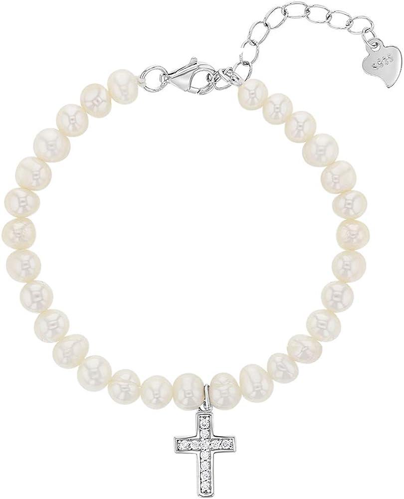 Pulsera ajustable de plata de ley 925 con perlas cultivadas blancas para bebés y niñas