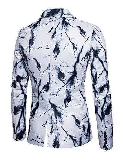 Blazers Di Bottone One Uomo Cappotto Button Stampato Bianco Fit Elegante Affari Giacca A Slim Blazer Vestito Casual rshCxtQd