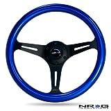 NRG Steering Wheel Blue Classic Wood Grain 3 Spoke Matte Black Center 350mm ST-015BK-BL Free Standard Shipping
