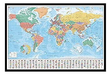 World map with flags and facts poster magnetic notice board black world map with flags and facts poster magnetic notice board black framed 965 x 66 gumiabroncs Images