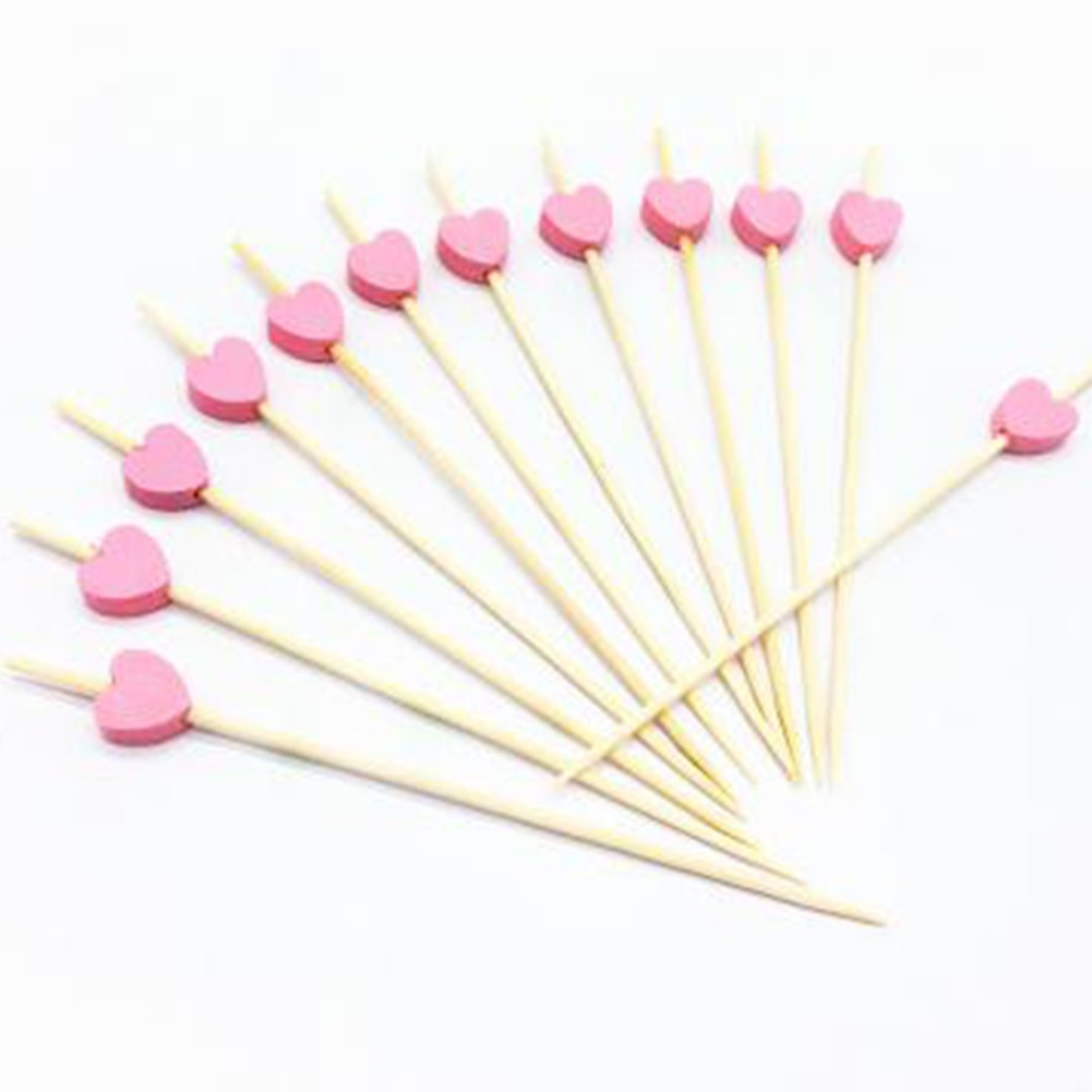 Hosaire Cocktail Picks 100 Counts Handmade Bamaboo Heart Cocktail Sticks Sandwich Fruit Toothpicks Cocktail Picks Party Supplies 4.7 Inches Pink