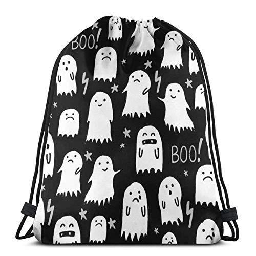 jiebokeji Ghost Black And White Halloween_4817 3D Print Drawstring Backpack Rucksack Shoulder Bags Bag for Adult 16.9
