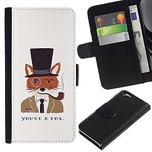 KingStore / Leather Etui en cuir / Apple Iphone 6 / Un caballero Dibujo Fox Clever;