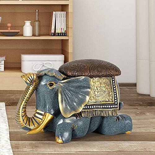 収納ベンチ 象動物リビングルームティーテーブルスツール靴のアイデアアメリカの靴スツール靴のキャビネットアメリカのドアホーム 柔軟 多用途 (Color : Blue, Size : 43x22x28cm)