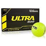 Wilson Ultra 500 Distance Golf Balls, Yellow, 15 Ball Pack