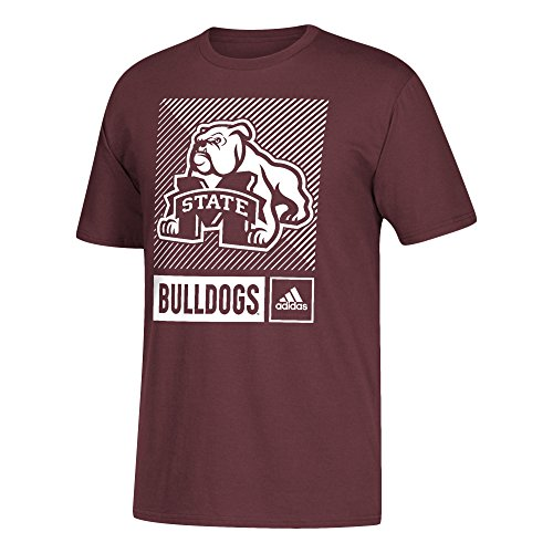 adidas NCAA Mississippi State Bulldogs Mens Lined Box Go-To S/Teelined Box Go-To S/Tee, Maroon, XX-Large