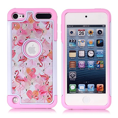 Apple iPod Touch 6th Case, iPod 5th Generation Case, Pink Flamingo Heavy Duty Shockproof Studded Rhinestone Crystal Bling Hybrid Case Silicone Protective Armor for Apple iPod Touch 5 6th Generation