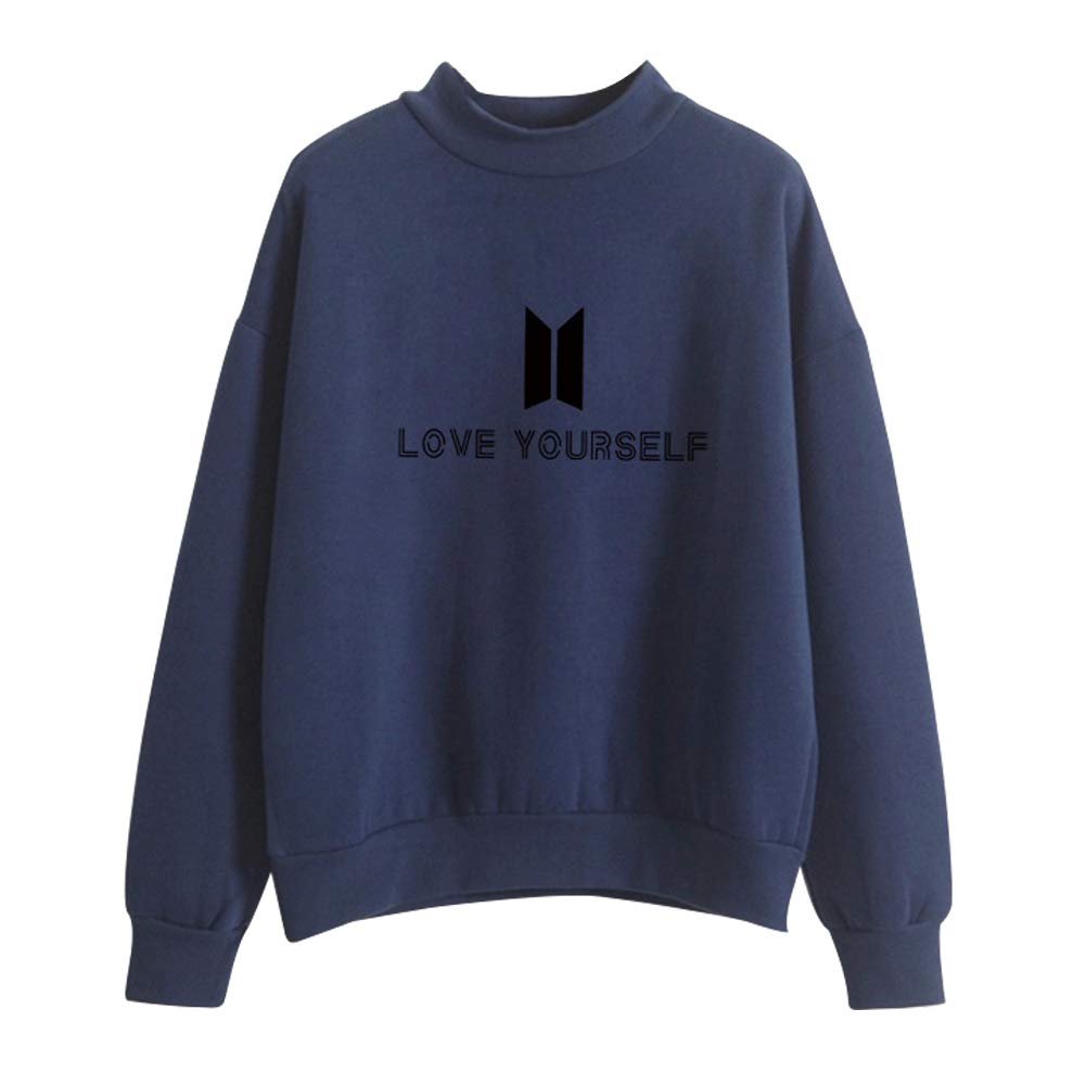 Unisex KPOP BTS Felpe con Collo Alto Sportive Love Yourself Ragazza BangtanT-shirt Maglia Manica Lunga Felpa Tumblr Pullover Autunno Inverno Elegante Sweatshirt Oversize Casual Maglietta Top
