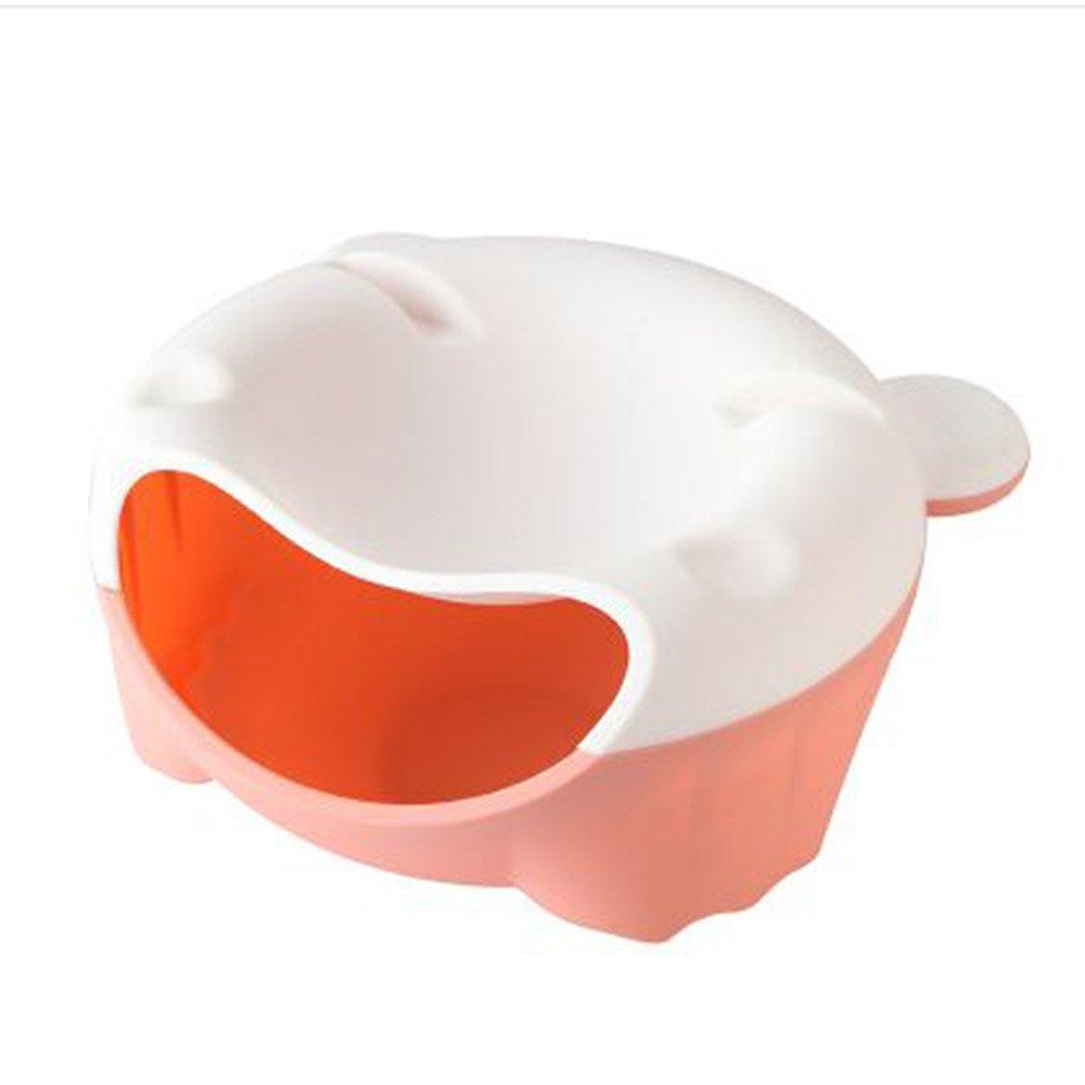 Double Dishナットごみ箱ホルダーPerfectスナックのフルーツまたはピスタチオ、スナックボウルwith Plastic Serving Dishes with携帯電話ホルダー 183BT3R01Y19YJHRFHQ B07F2JVCPT  White + powder