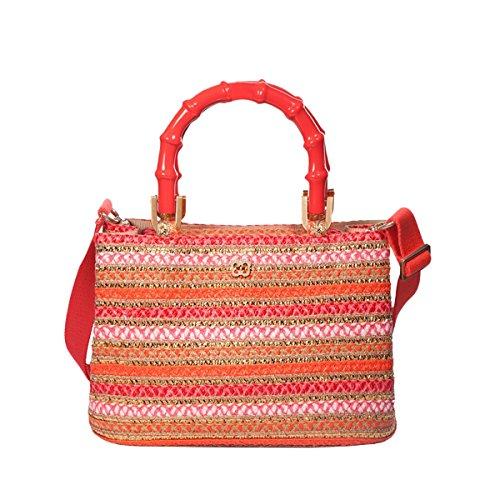 Eric Javits Luxury Fashion Designer Women's Handbag - Leila - CoralMix