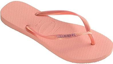 9c8035c6555de3 Havaianas Slim Logo Metallic Light Pink Beach Womens Flip Flops-36 ...
