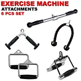 FITNESS MANIAC Weightlifting Gym Cable Attachments Rubber Grips Handle Pressdown Single D-Handle, V-Shaped Bar & Rotating Straight Bar Machine Exercise Tricep Bar Combo 6PCs Set