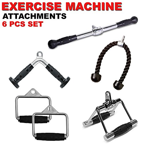 FITNESS MANIAC New Gym Cable Attachments Handle Pressdown Single D-Handle, V-Shaped Bar & Rotating Straight Bar Machine Exercise Tricep Bar Combo 6PCs Set by FITNESS MANIAC