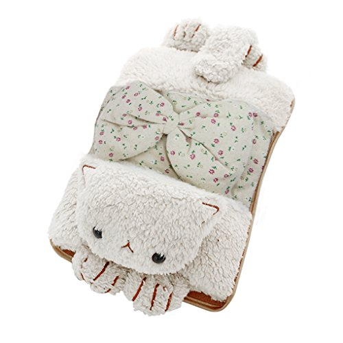 Velvet Bottle Bag - Winter Hand Warmer Rechargeable Safe Hot Water Bag, Cute Bowknot Cat Portable Electric Heat Warming Bag Pain Relief Hot Water Bottle+Cartoon Soft Detachable Velvet Cover(No Water Injection)