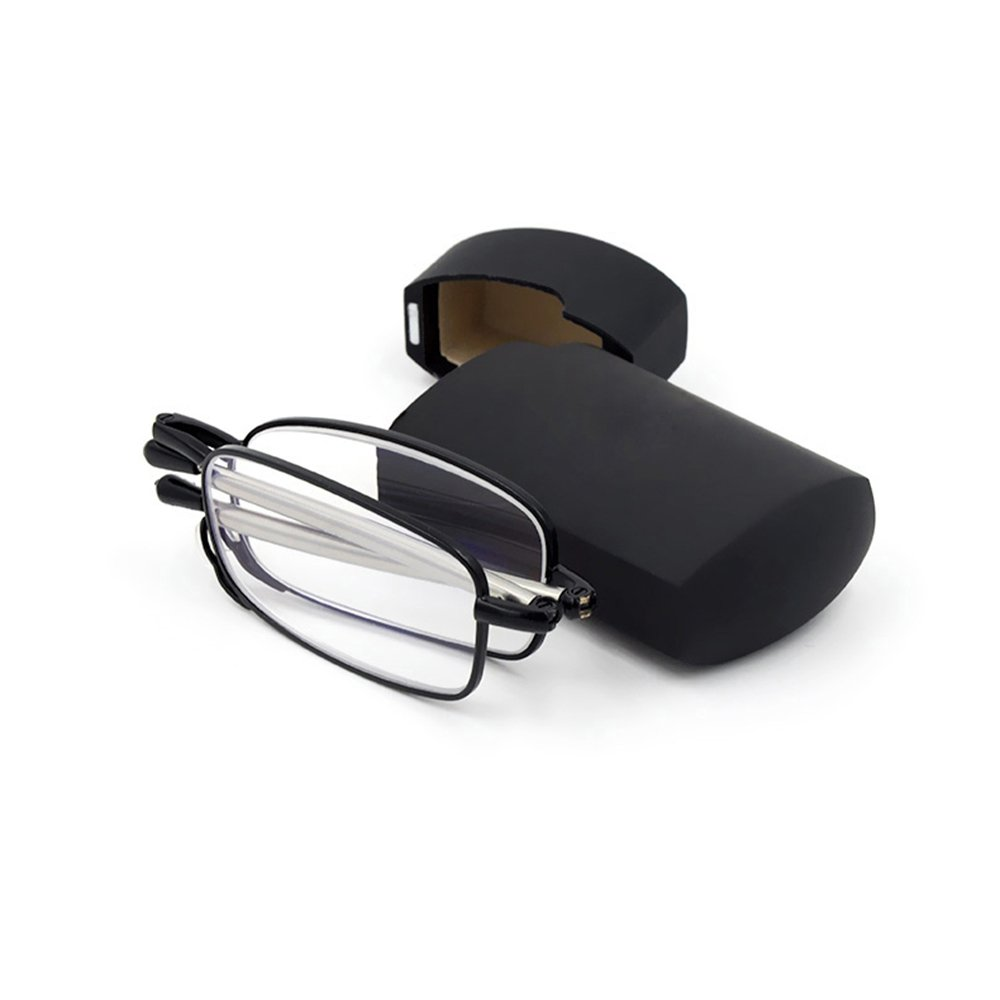 6ba9e8734bd7 Amazon.com  Unisex Compact Pocket Folding Reading Glasses Portable Foldable  Magnifying Readers Eyeglasses with Case for Men Women Travel Carrying (1.0  X)  ...