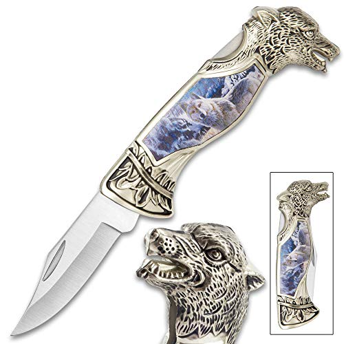 K EXCLUSIVE Winter Wolf Pocket Knife - 3Cr13 Stainless Steel, Sculpted Cast Metal and TPU Handle, Colorful Artwork, Liner Lock - Closed 5