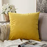 MIULEE Velvet Soft Decorative Square Throw Pillow Case Cushion Covers Pillowcases for Livingroom Sofa Bedroom with Invisible Zipper 60cm x 60cm 24x24 Inch 1 Piece Lemon Yellow