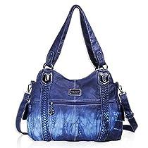 Angel Barcelo Roomy Fashion Hobo Womens Handbags Ladies Purse Satchel Shoulder Bags Tote Washed Leather Bag (0044-Green)
