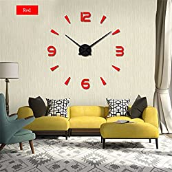 Wall Clock 3D Wall Stickers Creative Living Room Clocks Diy Home Decoration red 47inch