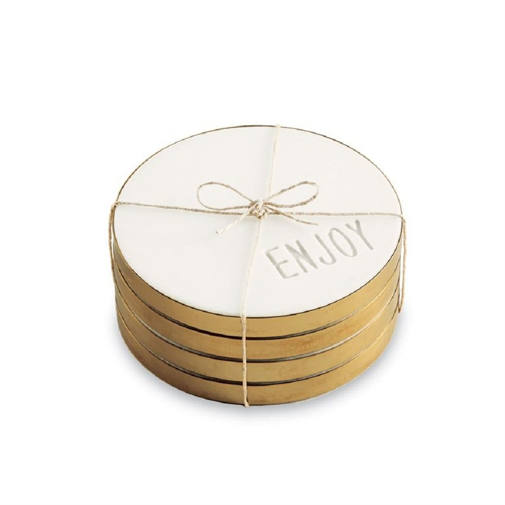 One Size Mud Pie 4254022 White Marble Coasters