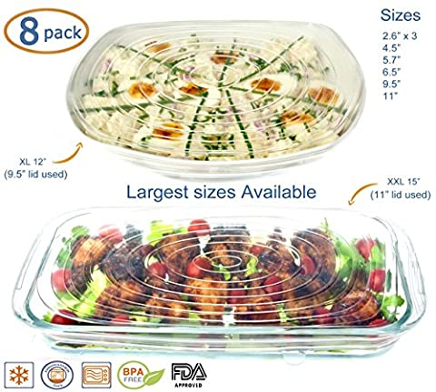 Silicone Stretch Lids Reusable 8 Pack (BONUS LARGE XXL AND XL SIZES) Food Covers, Round, Rectangle, Square Shapes, Platters, Dishes, Bowls, Pots, Containers, Jars, Cans, Cups and Glasses - Xl Silicone