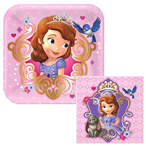 Flora Small Plate Set - Sofia The First Dessert Napkins & Plates Party Kit for 8