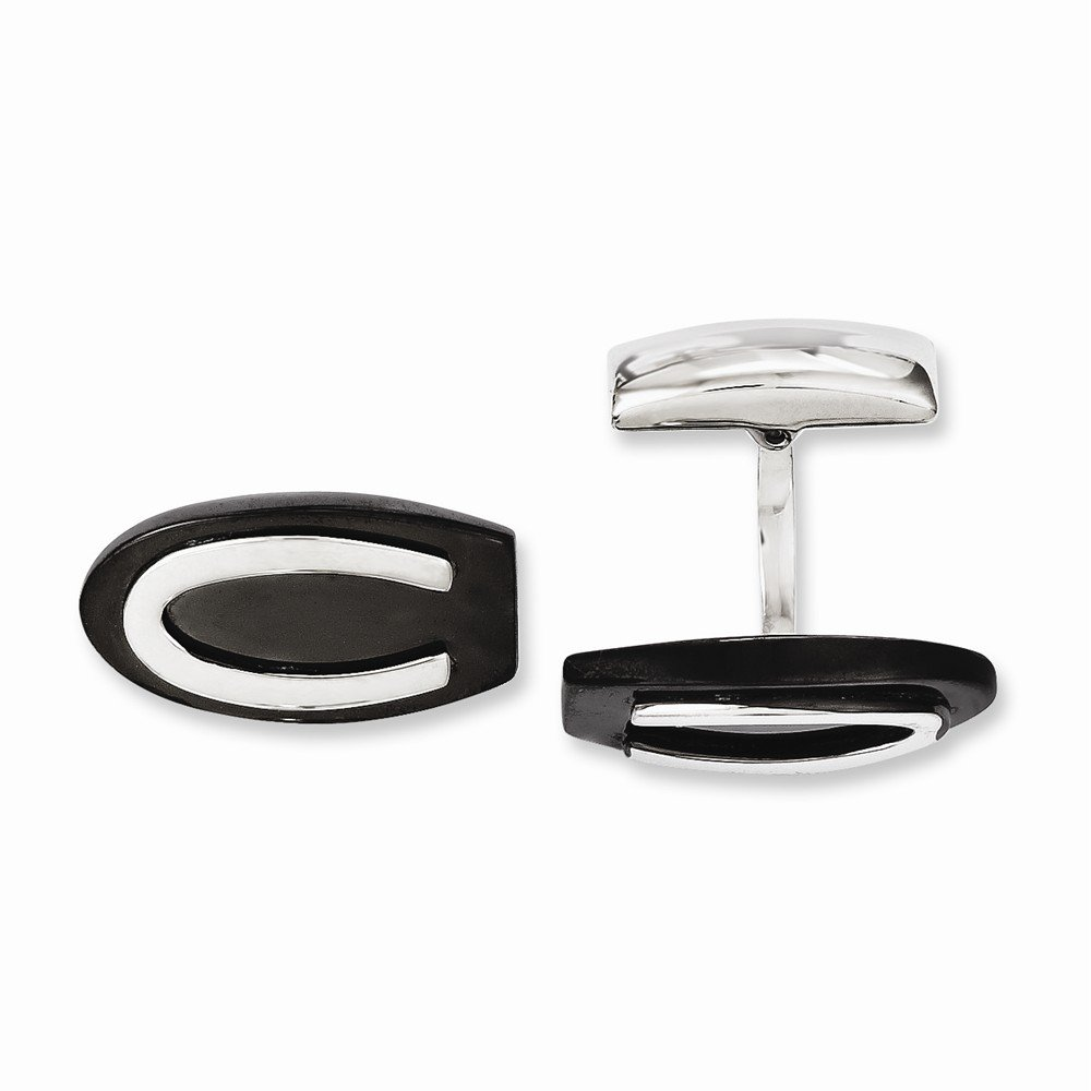 Stainless Steel Black IP-plated Oval Cuff Links